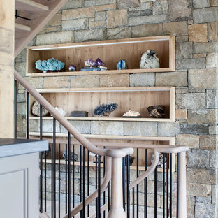 Inspiration for a rustic wood u-shaped staircase in Bridgeport.
