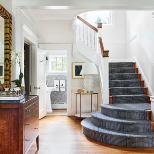 Staircase - large traditional carpeted l-shaped wood railing staircase idea in Boston with carpeted risers