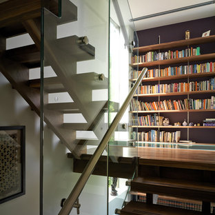 Design ideas for a contemporary staircase in London with open risers.