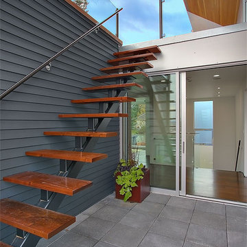 Exterior stair accessing roof terrace