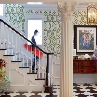 Inspiration for a timeless wooden staircase remodel in Jacksonville