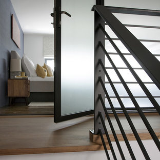 Trendy wooden floating open staircase photo in Boston