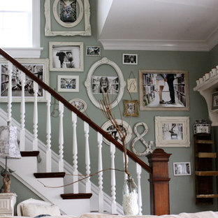 Photo of a shabby-chic style staircase in Chicago.