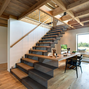 Example Of A Trendy Wooden Straight Staircase Design In New York