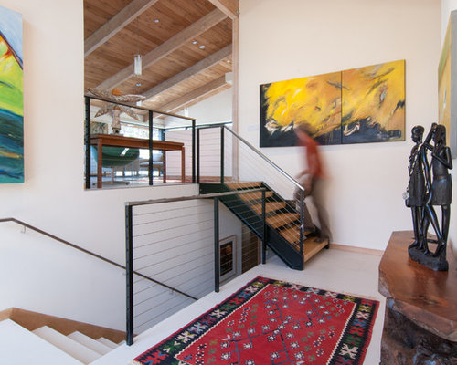Inspiration For A 1960s Wooden Open And Cable Railing Staircase Remodel In San  Diego