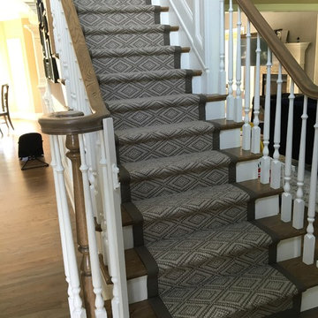 Flat-weave Wool Stair Runner with Wide Binding