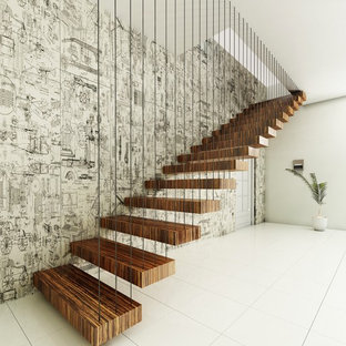 Modelo de escalera suspendida, actual, con escalones de madera