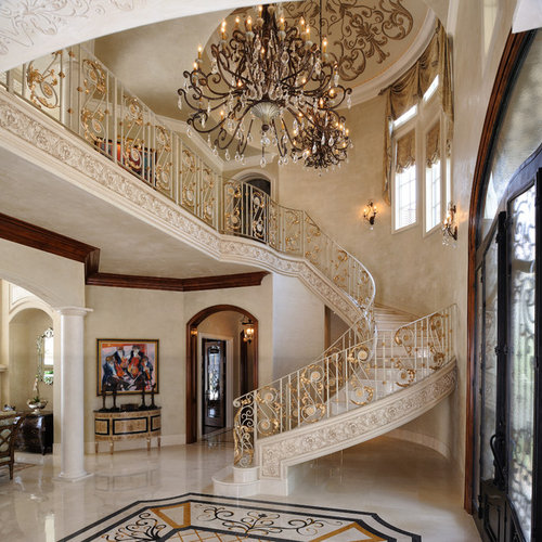 Inspiration For A Mediterranean Curved Mixed Material Railing Staircase  Remodel In Houston