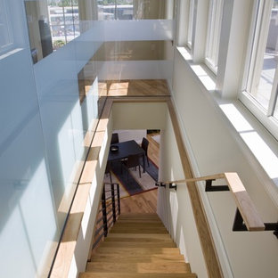 Staircase - modern wooden straight staircase idea in DC Metro