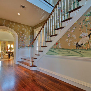 Inspiration for a timeless wooden staircase remodel in Dallas