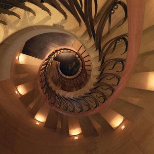 Imagen de escalera de caracol y panelado, clásica, extra grande, con escalones de piedra caliza, barandilla de metal y panelado