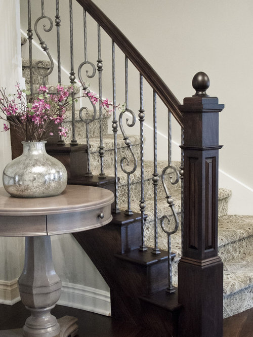 Lighting Basement Washroom Stairs: Pewter Stair Rail Ideas, Pictures, Remodel And Decor