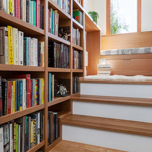 Trendy wooden straight staircase photo in San Francisco with wooden risers