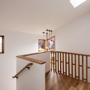 """Immagine di una piccola scala a """"U"""" moderna con pedata in legno, alzata in legno e parapetto in legno"""
