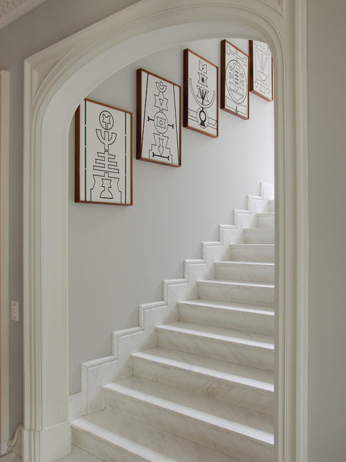 Traditional Marble Straight Staircase Idea In Other