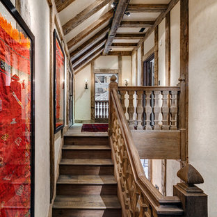 Example of a classic wooden staircase design in New York with wooden risers