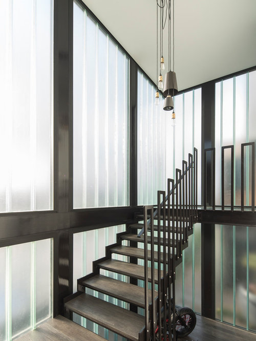 Design Ideas For A Large Industrial Wood U Shaped Staircase In Sydney.