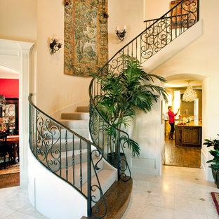 ダラスのカーペット敷きのトラディショナルスタイルのおしゃれなサーキュラー階段 (カーペット張りの蹴込み板) の写真