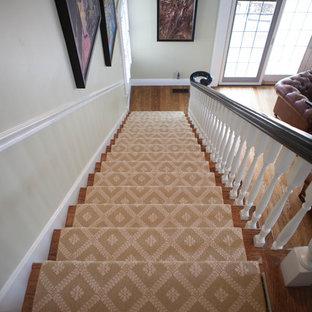 セントルイスの中サイズの木のトラディショナルスタイルのおしゃれな直階段 (木の蹴込み板) の写真