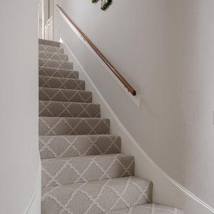 ヒューストンの広いカーペット敷きのトランジショナルスタイルのおしゃれな直階段 (カーペット張りの蹴込み板、木材の手すり) の写真
