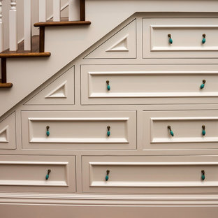 Inspiration for a mid-sized craftsman wooden l-shaped staircase remodel in Other with wooden risers