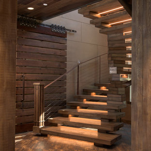 Elegant Mid Sized Mountain Style Wooden Spiral Open And Cable Railing Staircase  Photo In Sacramento