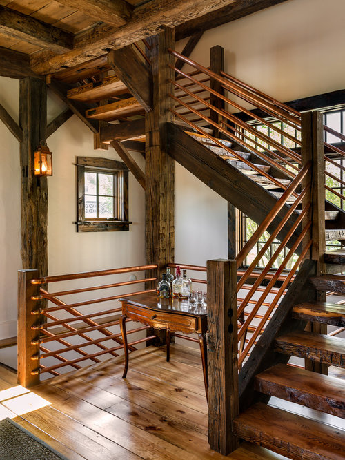 Rustic Wooden Open Staircase Idea In New York