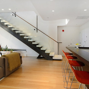 Inspiration for a contemporary staircase remodel in New York