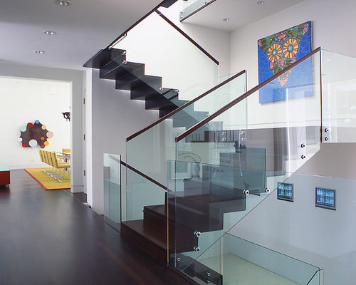 Glass stair railing houzz for Square spiral staircase plans hall