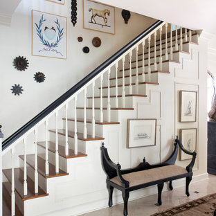 Staircase - traditional wooden straight wood railing staircase idea in Chicago with painted risers