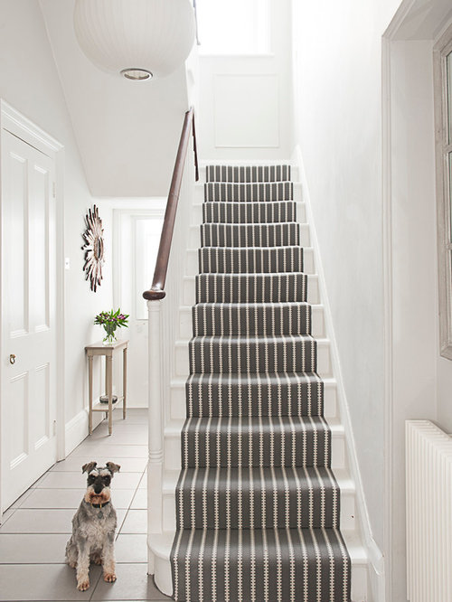inspiration for a timeless painted u shaped staircase remodel in kent - Staircase Design Ideas