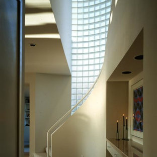 Mid-sized minimalist carpeted curved staircase photo in Dallas with carpeted risers
