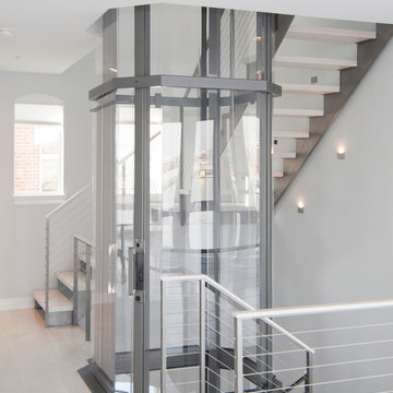 Glass Elevator in Staircase
