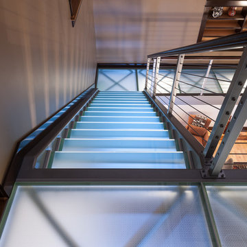 Glass floor treads steps and tread brackets with obscure glass