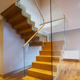 glass hung stair