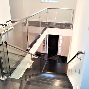 Staircase - large modern painted floating glass railing staircase idea in Indianapolis