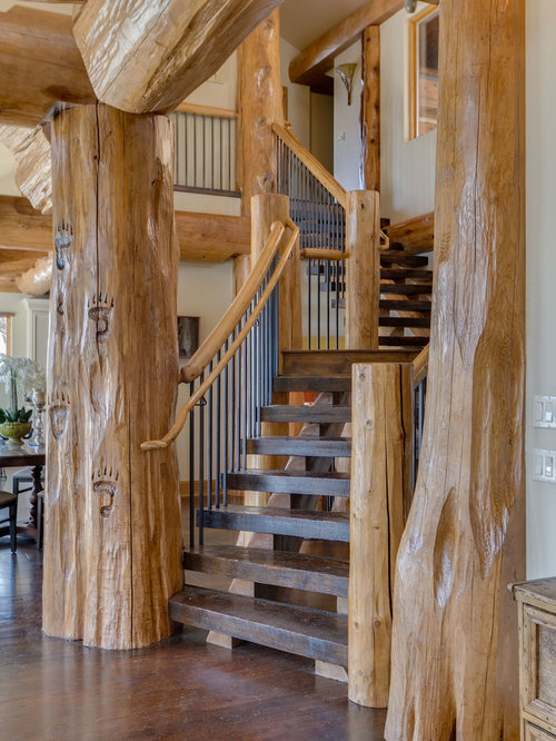 Staircase   Mid Sized Rustic Wooden Curved Open And Mixed Material Railing  Staircase Idea In