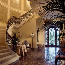 Mediterranean Staircase by Herscoe Hajjar Architects, LLC