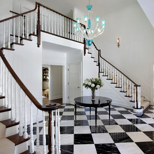 Grand Marble Foyer with Dual Staircases