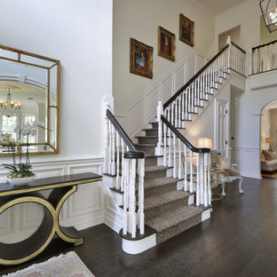 Staircase - mid-sized traditional wooden l-shaped staircase idea in Austin with painted risers