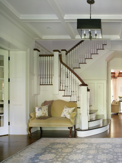 large traditional wooden u shaped staircase idea in new york - Staircase Design Ideas