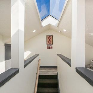 Idée de décoration pour un petit escalier droit sud-ouest américain avec des marches en moquette, des contremarches en moquette et un garde-corps en bois.