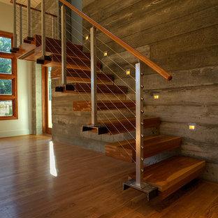 Foto de escalera recta, moderna, pequeña, sin contrahuella, con escalones de madera y barandilla de cable