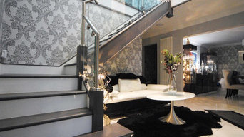 Grey, Steel and Glass Staircase Renovation