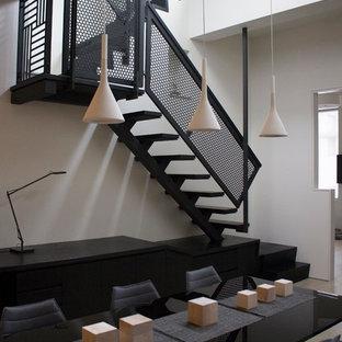 ニューヨークの中サイズの木のコンテンポラリースタイルのおしゃれな直階段 (金属の蹴込み板) の写真