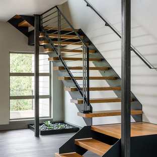 Staircase - large modern wooden floating open staircase idea in Other