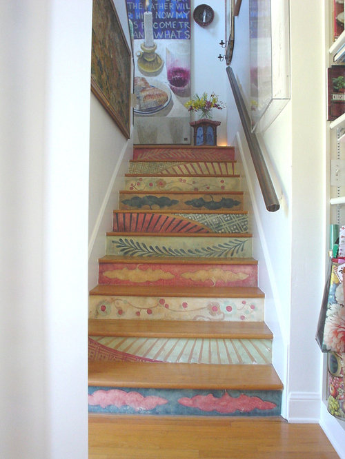 Stair risers home design ideas pictures remodel and decor for Painted stair treads
