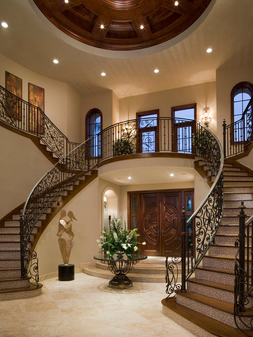 Foyer Stairs Reviews : Dual staircase houzz