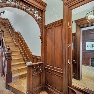 Staircase Huge Victorian Wooden Straight Wood Railing Idea In New York