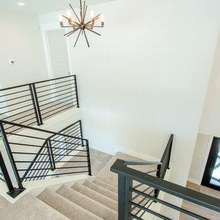 Пример оригинального дизайна: большая п-образная лестница в стиле модернизм с ступенями с ковровым покрытием, ковровыми подступенками и металлическими перилами
